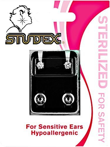 Studex Regular Cubic Zirconia Sterilized Piercing Earrings Stainless Steel (Piercing Studex Sterilized Earrings)