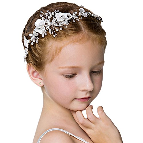 ystal Pearls Rhinestones Beading Beautiful Girls Hair Accessories Princess Hair Jewelry Ceremony performce Prom Party Wedding 9 styles (CT) (Flower Girl Headpiece)