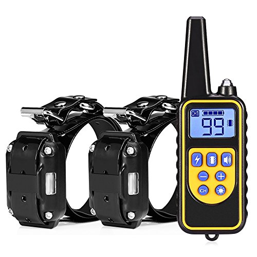 Opest Dog Training Collar With Remote 300m Waterproof Dog Training Set Rechargeable Dog Shock Collar with LED Light/Beep/Vibra/Shock Electric Collar Contain 2 Electronic Collar Receivers Neck Lanyard