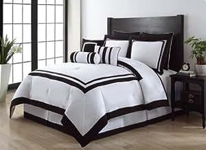 Amazon Com 9 Piece King Hotel Black And White Comforter