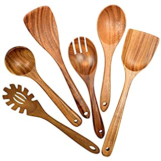 Wooden Utensils for Cooking, 6 Pack Natural Teak Wooden Spoons for Cooking Wood Utensil Set and Spatula for Kitchen