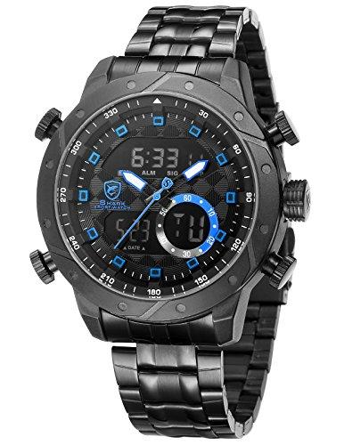 Genuine Shark Watch - Snaggletooth Shark Men's Stainless Steel Quartz Wrist Watch LCD Day Date Display Double Movement Alarm Clock SH594