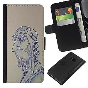 KLONGSHOP // Tirón de la caja Cartera de cuero con ranuras para tarjetas - boceto piloto hombre dibujo bigote - HTC One M7 //