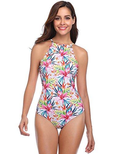 Halter Floral Piece One (MarinaVida Women One Piece Swimsuit)
