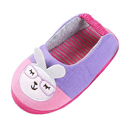 Beeliss Toddler Slippers Cartoon House Shoes (9-10 M US Toddler, Pink)