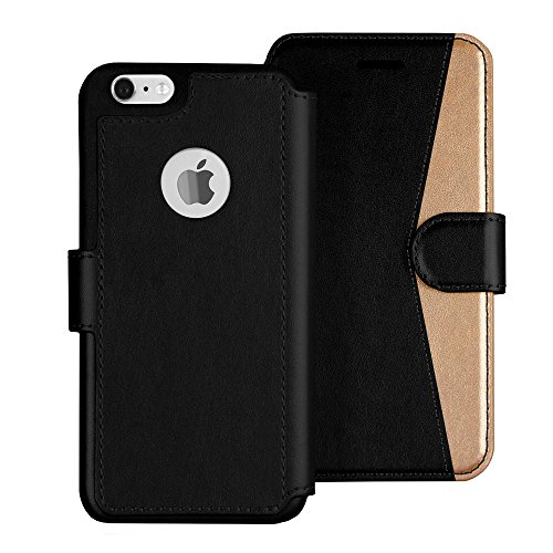 LUPA iPhone 6S Wallet case, iPhone 6 Wallet Case, Durable and Slim, Lightweight with Classic Design & Ultra-Strong Magnetic Closure, Faux Leather, Black and Gold, Wristlet,for Apple iPhone 6s/6