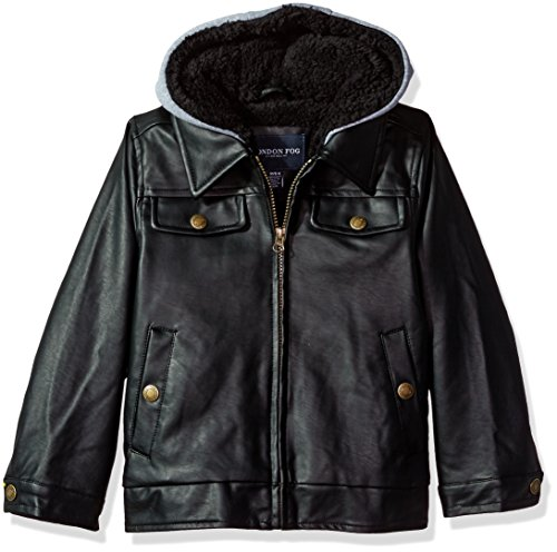 London Fog Little Boys' Faux Leather Bomber Jacket With Hood, Black, 4
