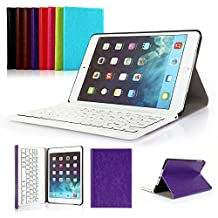 Ipad Mini 1/2/3 Keyboard Case, Symbollife Purple Folding PU Leather Folio Case Cover & Stand with Removable Bluetooth Keyboard For Apple iPad Mini 2 with Retina Display / the Newest iPad Mini 3 (2014 Version)