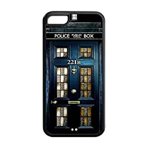 Police Box 221B Door Hard Rubber Cell Phone Cover Case for iPhone 5C,5C Phone Cases by ruishername