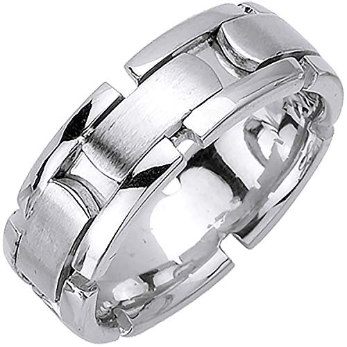 14K White Gold Blocks Men's Comfort Fit Wedding Band (8mm) (Contemporary Comfort Fit Wedding Ring)