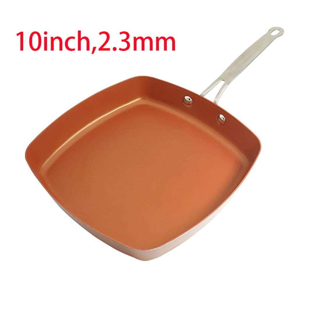 Non-Stick Skillet Copper Red Pan Ceramic Induction Skillet Frying Pan Saucepan Oven & Dishwasher 10 Inches Nonstick Skillet 10 inch square