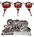 Royal Sapphire Stainless Steel Combo Set Dinner Set 53 Pcs and Orange Color Handi Set of 3