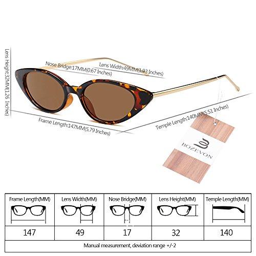 Pequeño sol de Marco Metal UV400 de protección Verano Gafas Mujeres BOZEVON Estilo Marco 07 Vintage n7qUH8BxRw
