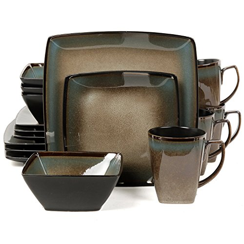 - Gibson Elite Tequesta 16 Piece Square Dinnerware Set, Taupe