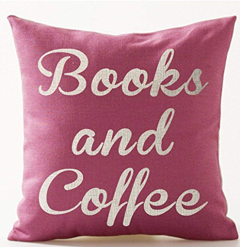 Acelive 20 x 20 Inches Book Lover Reading Book Club Funny Letters Books and Coffee Pink Background Cotton Linen Decorative Throw Pillow Case Cushion Cover Square for Halloween ()