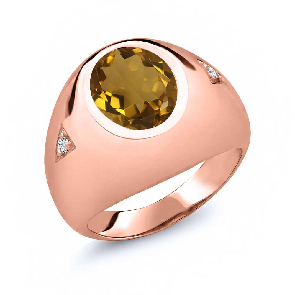 Gem Stone King 4.06 Ct Oval Whiskey Quartz 18K Rose Gold Plated Silver Mens Ring