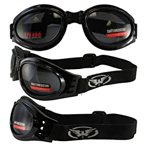 Adventure Foldable Goggles Black Frame Smoked Lenses