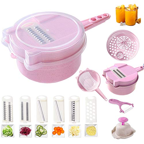 Allinone Vegetable Slicer Vegi Grater 11 in 1 Multi-function Easy Food Cutter Professional Cheese Chopper with Salad Cutter Bowl, Pink