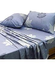 Essina 100% Cotton Queen Bed Sheet Set 4pc Pictorial Collection, 620 thread count, Santa Clara