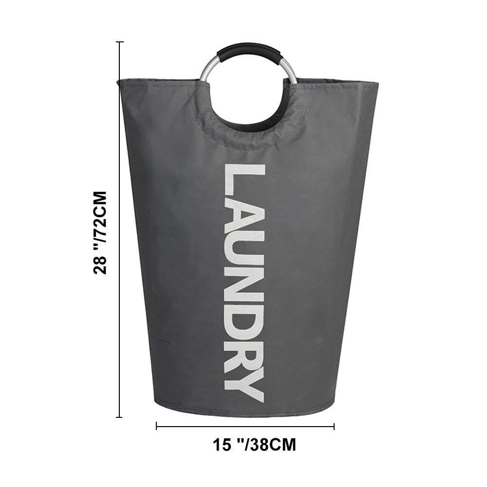 XIFIRY Large Collapsible College Laundry Bag, College Laundry Tote Heavy-duty Laundry Hamper with Alloy Handle (Deep Grey)
