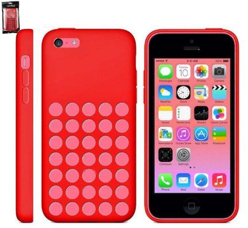 Emartbuy ® Apple Iphone 5c Retro Dots Loch Silikon Skin Cover / Schutzhülle Rot