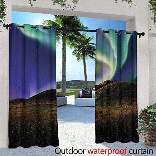 Tim1Beve Outdoor Curtains Alaska Alaskan Meadows in The Night with Aurora Borealis Natural Beauties of The North for Patio/Front Porch 84
