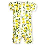 Frugal Organics Zipper Romper Short Sleeve Sizes NB- 24M | 6 Patterns (3 Months, Lemons)