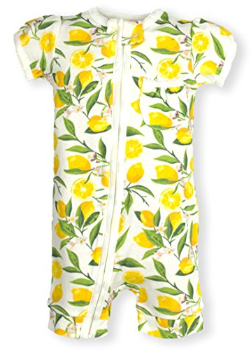 Zipper Romper Short Sleeve sizes NB- 24M | 6 Patterns (3 Months, Lemons)