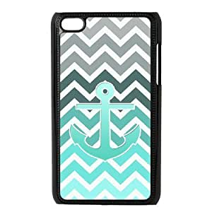 ALICASE Diy Phone Case Blue Chevron Anchor For Ipod Touch 4 [Pattern-1]