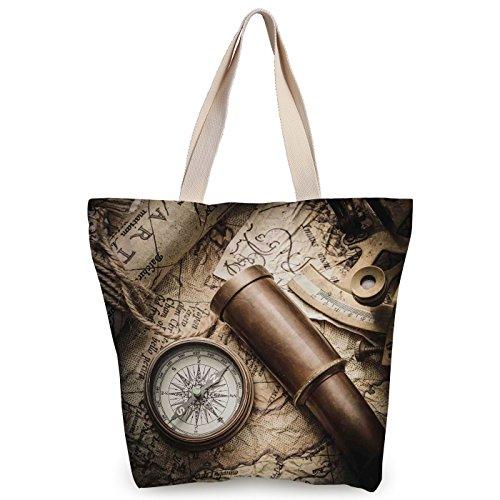 Personalized Canvas Tote Bag,Compass Decor,Vintage Still Life with Compass Sextant Spyglass and Old Map Marine Life Artwork Print,Brown Beige,Canvas Shopping bag,shoulder handbags,Shoulder (Spy Brown Handbag)