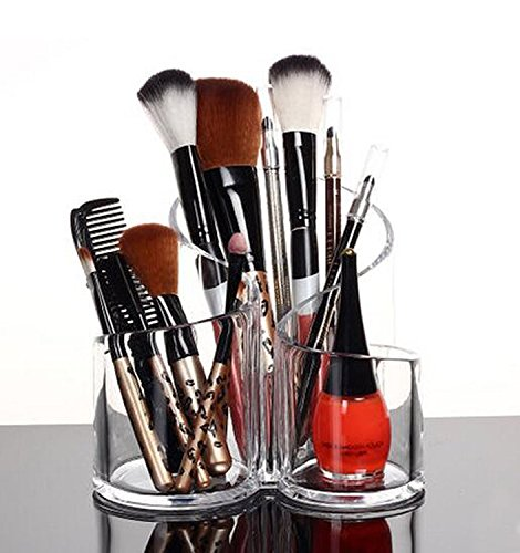 PuTwo Acrylic Makeup Brush Holder Desk Organizer Cosmetics O