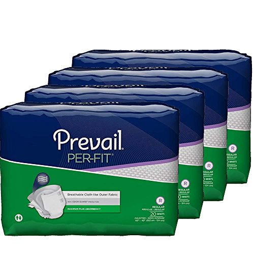Prevail Per-Fit Maximum Absorbency Incontinence Briefs Regular 20 Count (Pack of 4) Breathable Rapid Absorption Discreet Comfort Fit Adult Diapers