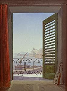 Oil painting 'Carl Gustav Carus-Balcony Room with a View of the Bay of Naples,1829-1830' printing on Cotton Canvas , 20x27 inch / 51x69 cm ,the best Nursery decoration and Home gallery art and Gifts is this Cheap but High quality Art Decorative Art Decorative Canvas Prints