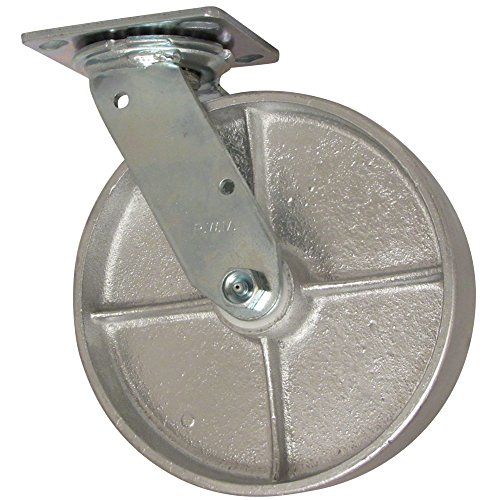 """RWM Casters 46 Series Plate Caster, Swivel, Cast Iron Wheel, Celcon Bearing, 1200 lbs Capacity, 8"""" Wheel Dia, 2"""" Wheel Width, 9-1/2"""" Mount Height, 4-1/2"""" Plate Length, 4"""" Plate Width from RWM Casters"""