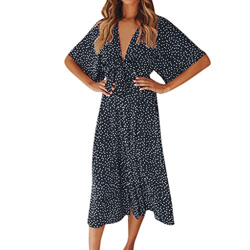 Womens Fashion Beach Sexy Casual Dress TANGSen Ladies Summer Loose V Neck Dot Bohemia Bow Tie Print Long Dress Navy