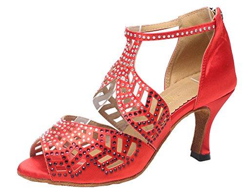 T scarpe Silk Rosse Jj Heel Cfp Dance Donna Sexy bar toe Modern 7014 Mid Peep Fashion 7qrf76
