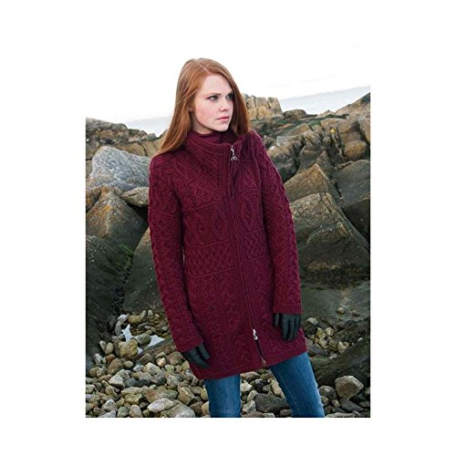 100% Irish Merino Wool Double Collar Aran Knit Coat Wine (Merino Cardigan Sweater)