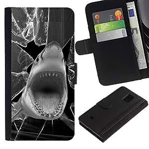 All Phone Most Case / Oferta Especial Cáscara Funda de cuero Monedero Cubierta de proteccion Caso / Wallet Case for Samsung Galaxy S5 Mini, SM-G800 // Shark Funny Broken Glass Black White