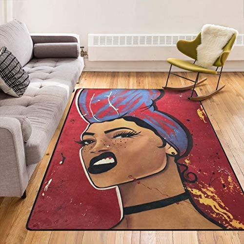 Afro African Black Girl Magic Black Women Modern Area Rug,Throw Rugs Carpet Floor Pad Rugs Bathroom Rug Mat Yoga Mat Home Decor