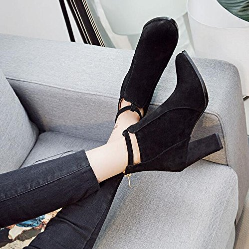 KHSKX-The High-Heel Shoes Thick With The Tip Of The Barrel Short Boots Martin Boots Female Spring And Autumn And Winter Wind Of England The New Matte Zipper Bare Boots 36 O9zKGgPVWg