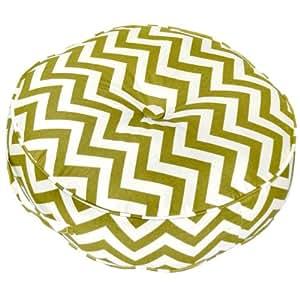 Greendale Home Fashions 20-Inch Round Floor Pillow Zig Zag fabric, Village Green