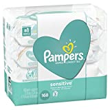 Pampers Sensitive Water Baby Wipes 3X Pop-Top Packs, 168 Count (Pack May Vary)