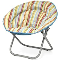 Urban Shop Cabana Stripes Saucer Chair, Burnt with Light Blue Trim, One Size