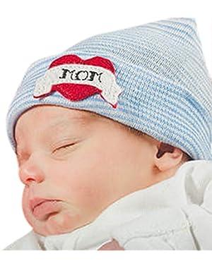 Blue and White Love Mom baby boy newborn hospital hat