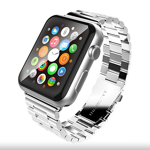 Price comparison product image Apple Watch Band 42mm - MixcTech Solid Stainless Steel Bracelet Strap with Metal Clasp Polishing Shiny Wrist Band Replacement for iWatch (silver)