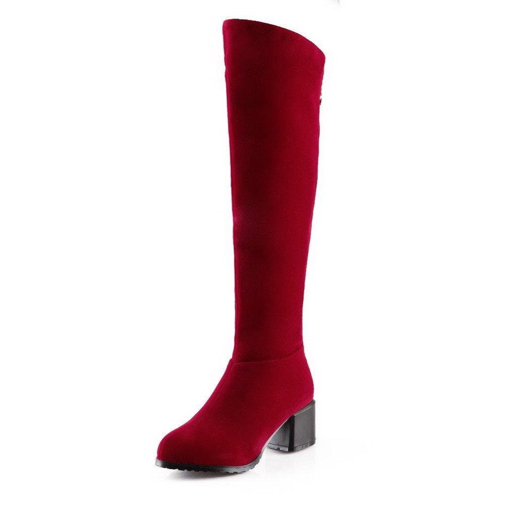 AgooLar Femme Couleur Unie à B07H154HM7 Talon Correct à Rond Talon Suédé Zip Bottes Rouge e571e34 - automaticcouplings.space