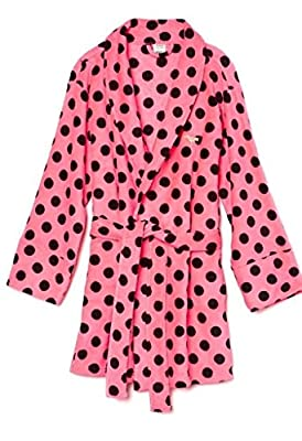 Victoria's Secret PINK Women's Plush Robe Pink Polka Dot