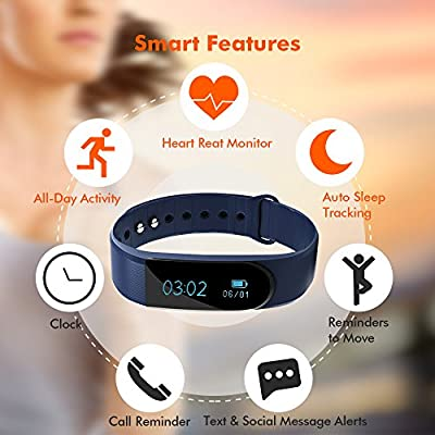 Fitness Tracker, ANCHEER Activity Tracker Heart Rate Monitor Pedometer Wristband Step/Sleep/Calorie Counter Call/SMS Reminder IP67 Waterproof Wireless Bluetooth Bracelet Smart Watch Band IOS/Android