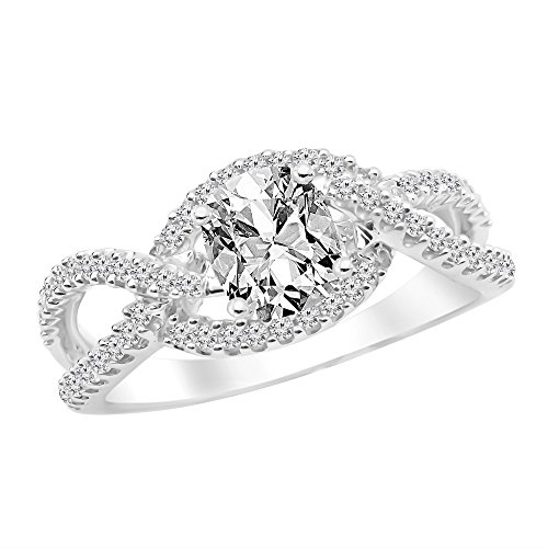 1.11 Carat t.w. 14K White Gold GIA Certified Cushion Modified Twisting Curving Infinity Split Shank Diamond Engagement Ring I/VVS1 Clarity Center Stones. - Vvs1 Clarity