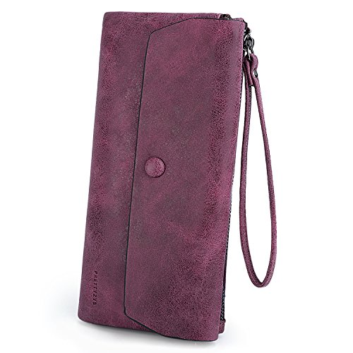 allet Large Capacity Matte PU Leather Card Slot Zipper Phone Holder Purse Red ()